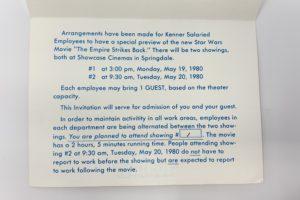 Kenner Toys Employee ESB Invite